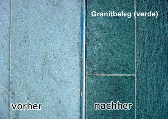 links Vollimprägnierung, farbtonvertiefend, rechts Hydrophobierung (Sättigung) 1
